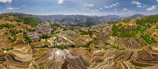 Panoramic aerial view of the Yuanyang Hani Rice Terraces, China