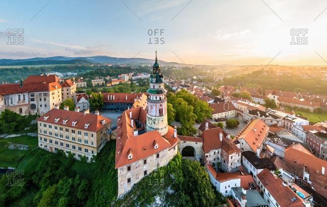 Aerial view of Cesk� Krumlov Castle, Czech Republic.
