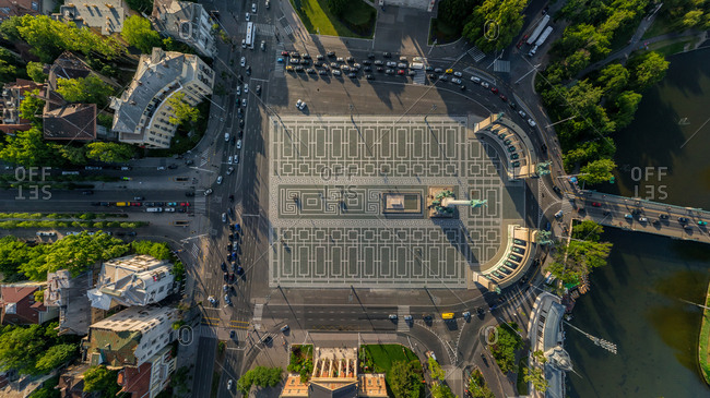 Aerial view above of Heroes Square, Budapest, Hungary