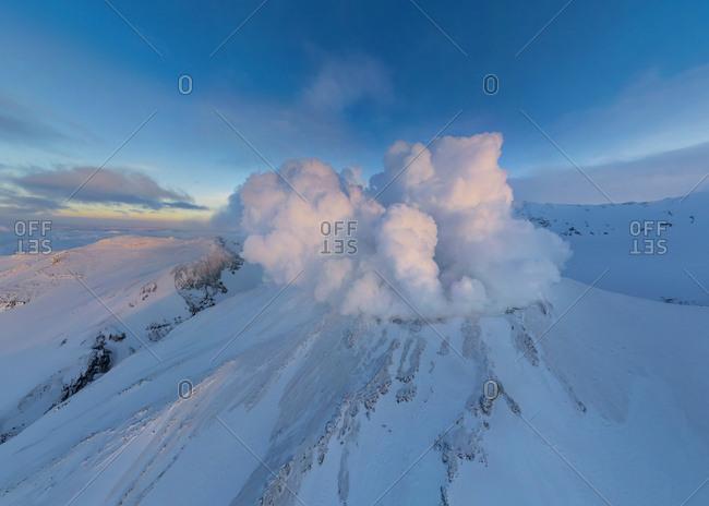 Aerial view of Mutnovsky volcano, Kamchatka, Russia