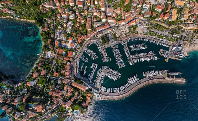 Aeria view above the port of Saint Jean Cap Ferrat, France.