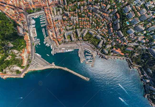 Aerial view above of the port of Nice, France