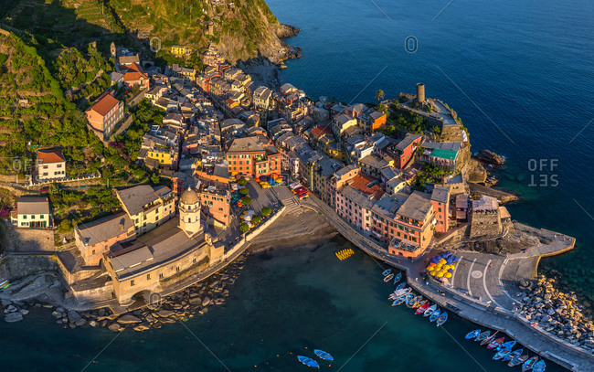 Aerial view of Vernazza, Italy