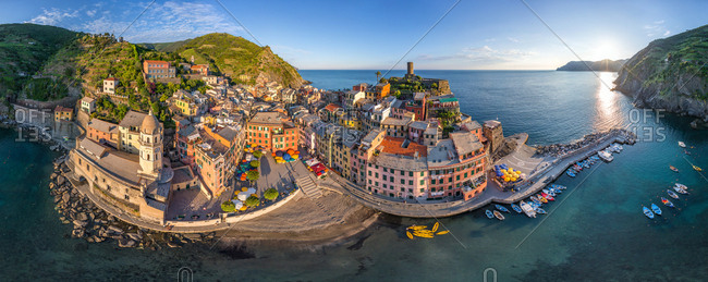 Panoramic aerial view of Vernazza, Italy