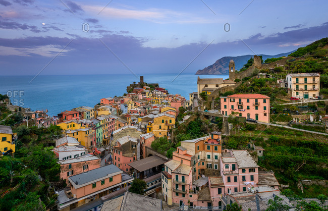 May 6, 2015: Aerial view of Vernazza cityscape, Italy.
