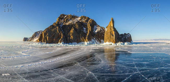 Aerial view of island in the frozen Baikal Lake, Russia