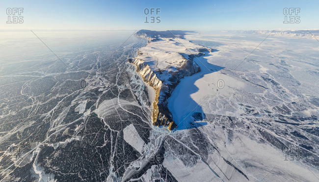 Aerial view of frozen Baikal Lake, Russia