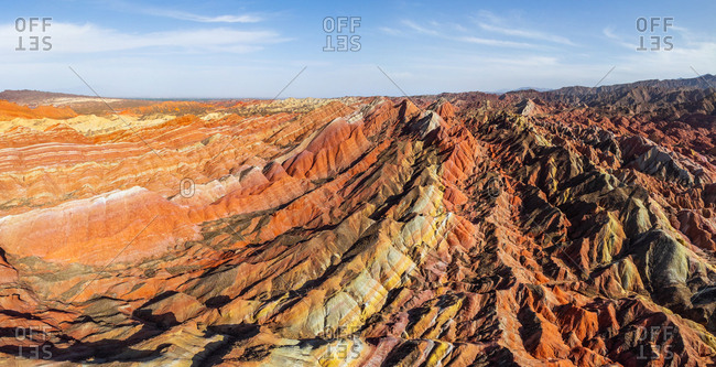 Panoramic aerial view of Colorful mountains at Zhangye Danxia Geopark, China