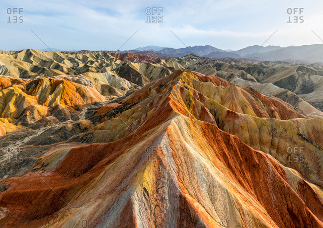 Aerial view of Colorful mountains of the Zhangye Danxia Geopark, China