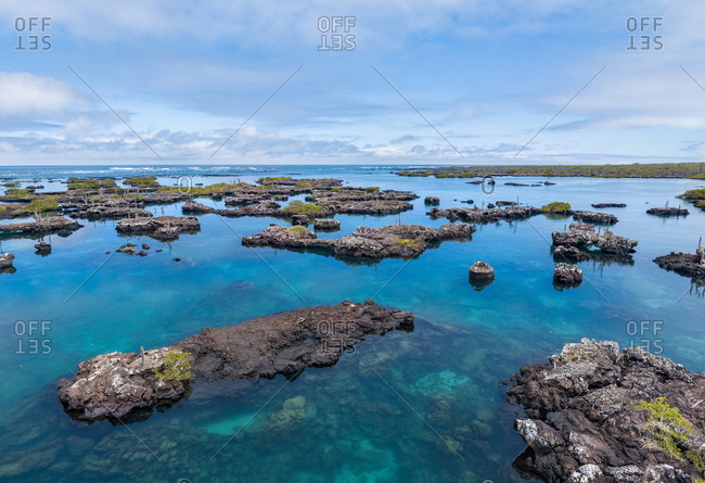 Aerial view of island archipelagos at Galapagos.