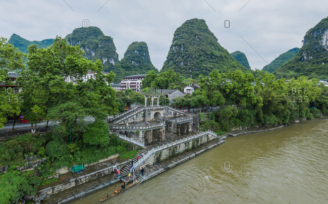 April 14, 2019: Aerial view of Guilin Mountains, China