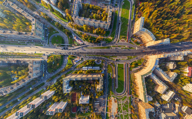 Aerial view above of Gagarin Square in Moscow, Russia