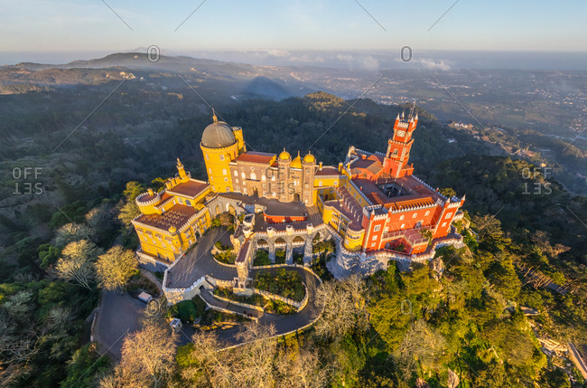 Aerial view of the Pena National Palace, Sintra, Portugal