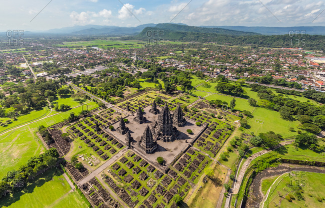 Aerial view of  Prambanan Temple Compounds, Indonesia