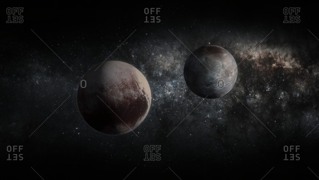 Pluto and Charon. Illustration incorporating NASA New Horizons terrain imagery.