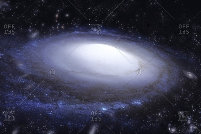 Spiral galaxy. Illustration based on Hubble Space Telescope imagery.