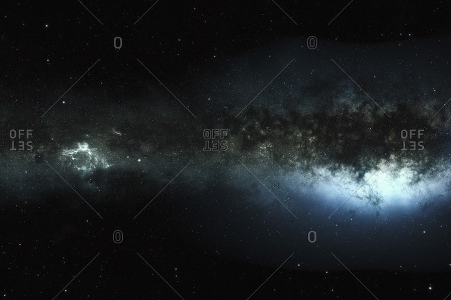 Illustration of an edge on view of a galaxy showing the galactic core (right), nebulae and dust clouds.