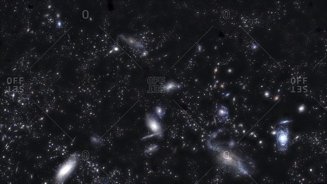 Illustration of a cluster of galaxies, part of the large scale structure of the universe.