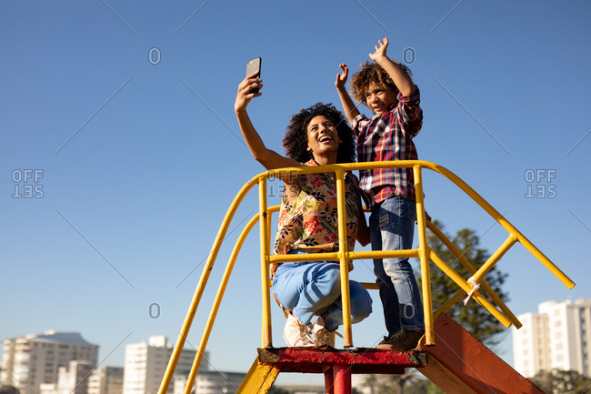 Young mother and son enjoying a day out together