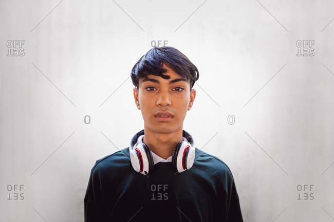 Young transgender adult in the street
