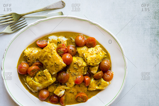 Curry Seafood Dish with Burst Tomatoes