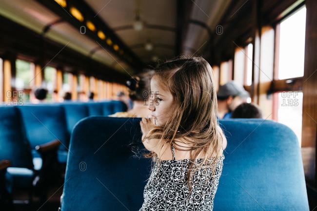 Little girl in steam train
