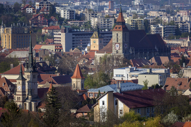 January 3, 2016: Cityscape with churches in Brasov, Romania