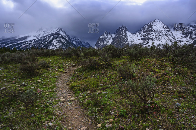 Snowcapped mountains by bush land in Grand Teton National Park, USA
