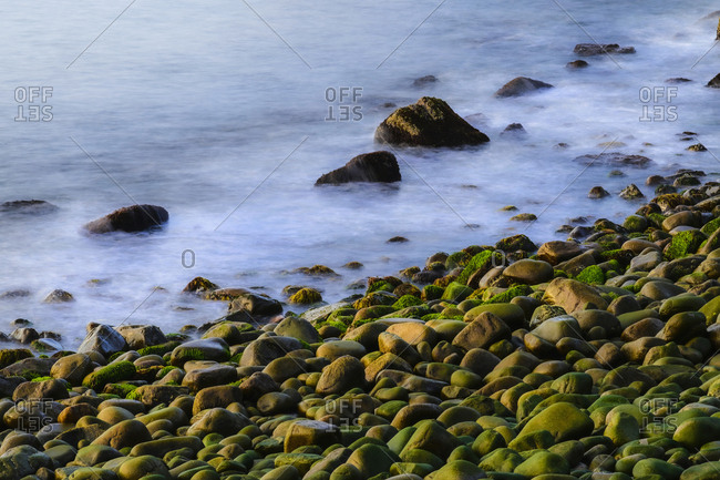 Long exposure shot of rock beach in Acadia National Park, USA