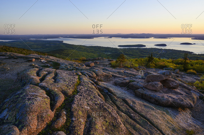 Granite rock formations at sunrise in Acadia National Park, USA