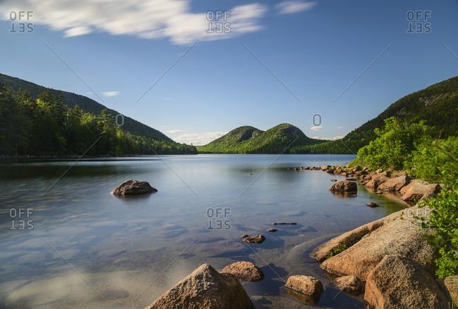 Long exposure shot of Jordan Pond, Acadia National Park, USA