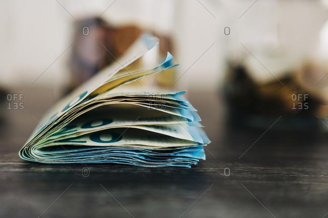 Folded twenty Euro notes