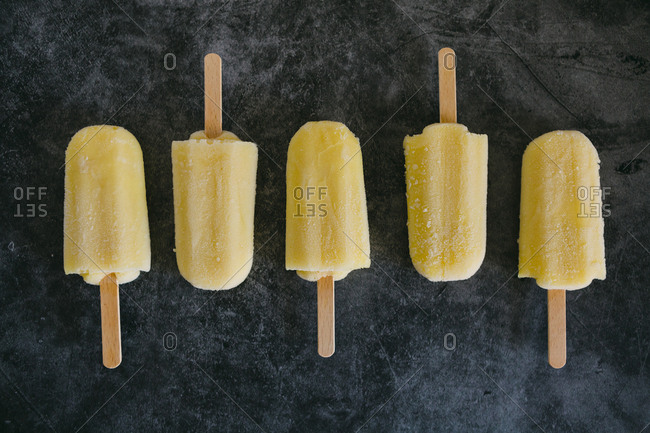 Row of lemon ice pops