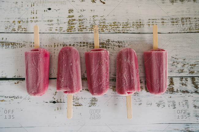 Row of berry ice pops