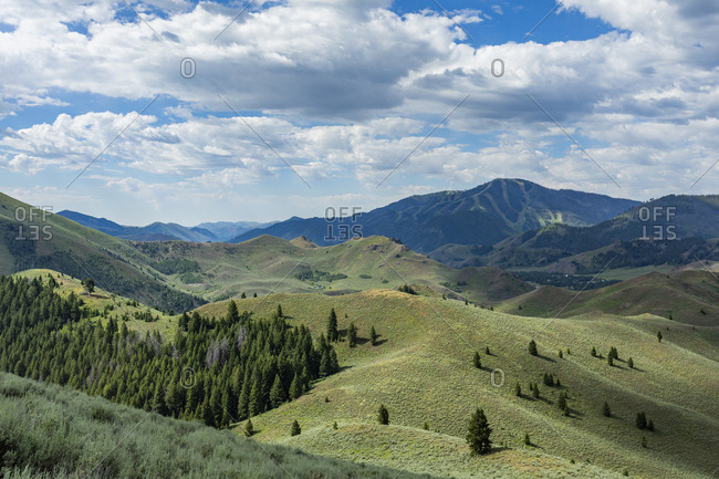 Green hills in Sun Valley, Idaho, USA