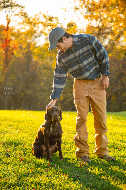Man petting chocolate Labrador in field during autumn