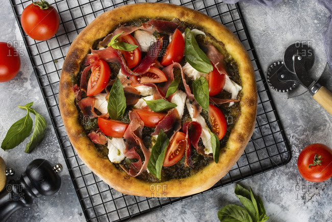 Pizza on cooling rack