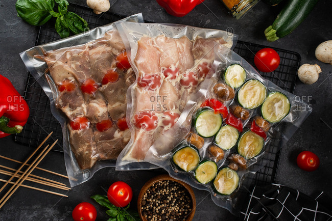 Raw packaged meat and vegetables for skewers