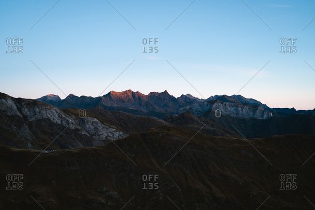 Alpenglow during sunrise in Pyrenees in France