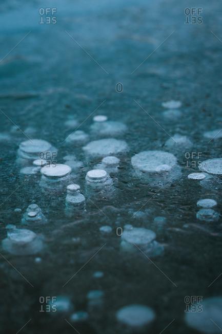 Frozen air bubbles in blue frozen water