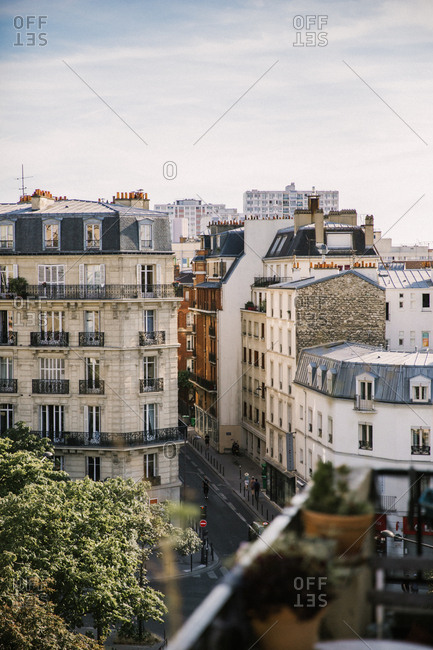 July 8, 2019: View from the balcony of an apartment in the 15th arrondissement in Paris, France