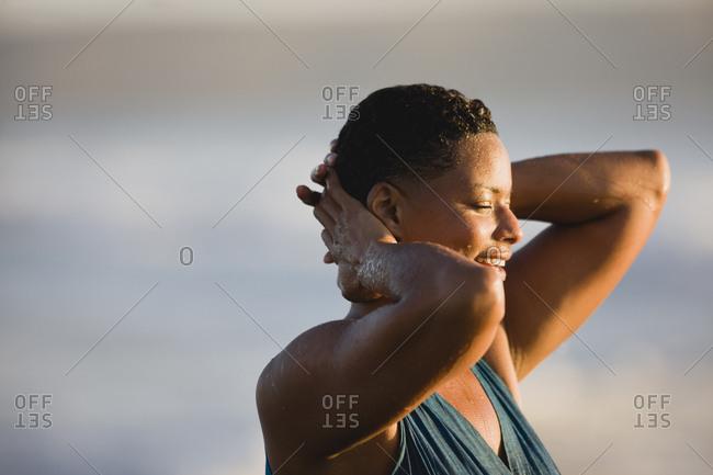 Woman after a swim