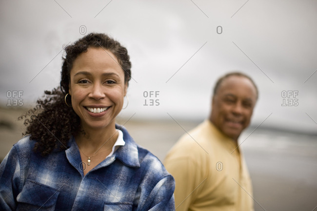 Mature man and woman on the beach