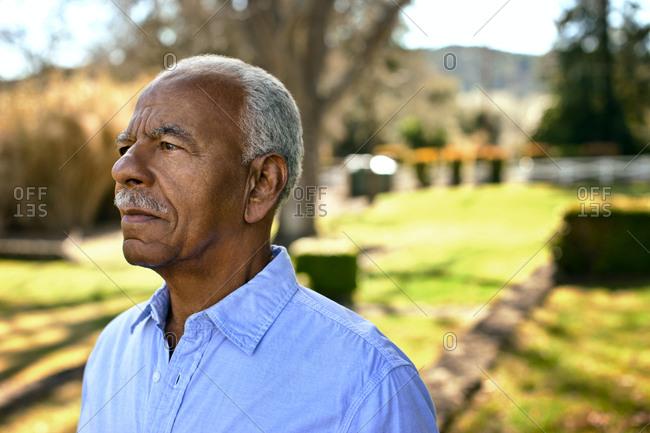 Portrait of worried looking senior man.