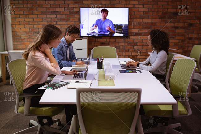 Young business creatives working in an office