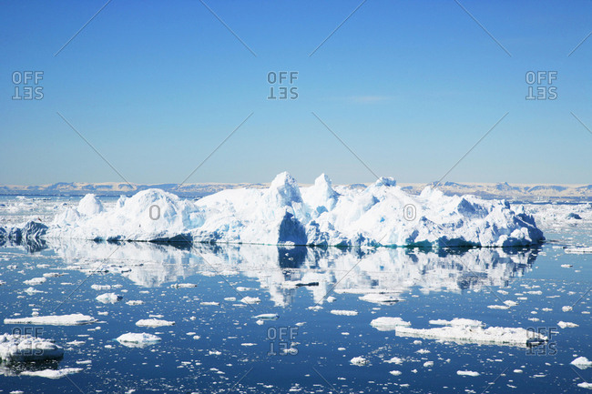 Icebergs floating in Disco Bay, Ilulissat, Greenland