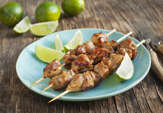 Marinated Chicken skewers with lime