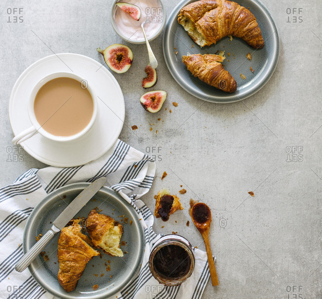 Breakfast of tea and croissants