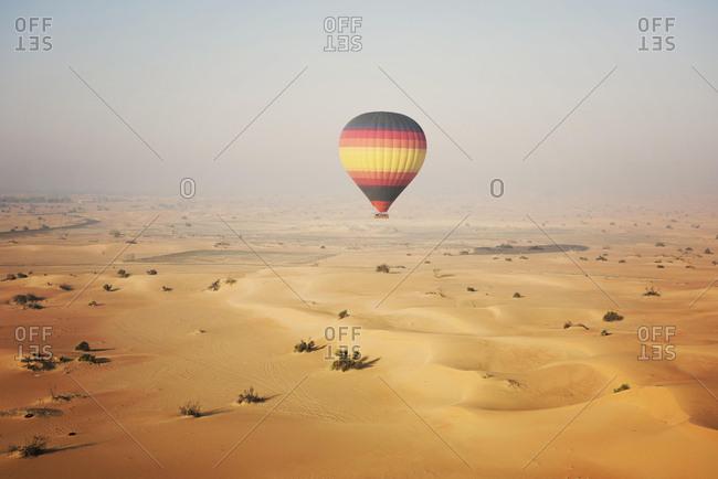Hot air balloon over the desert, Dubai, United Arab Emirates