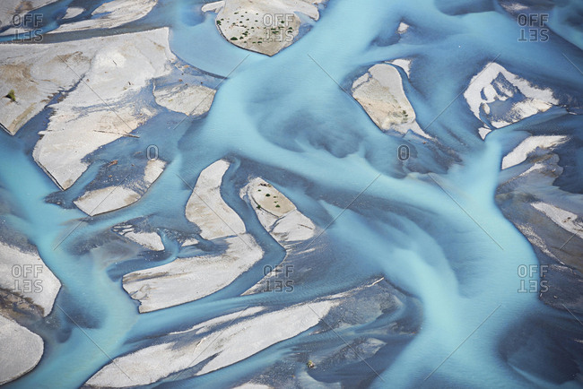 Abstract aerial view of river bed, Canterbury plains, Christchurch, New Zealand